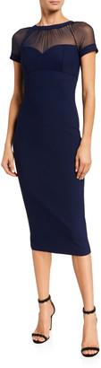 Chiara Boni High-Neck Mesh-Yoke Cap-Sleeve Illusion Dress