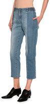 Stella McCartney Kimberly Mixed-Denim Cropped Straight-Leg Jeans, Medium Blue