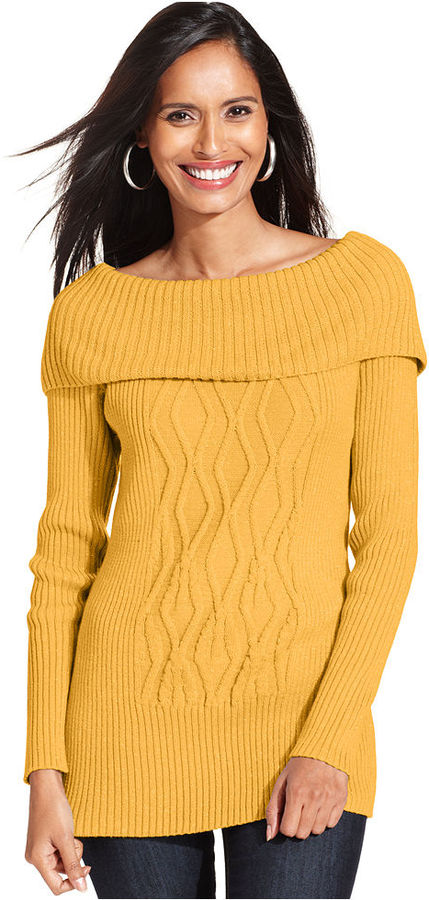 Style&Co. Petite Sweater, Long-Sleeve Off-The-Shoulder Metallic-Knit