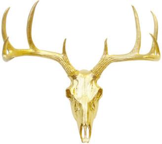 Near and Deer Faux Metallic Deer Skull Wall Decor, Gold
