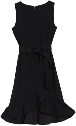 Calvin Klein Sleeveless Ruffled Tie Waist Dress