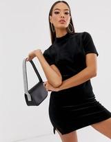 Juicy Couture velour mock neck logo mini dress