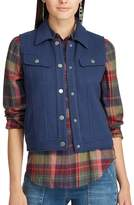 Chaps Women's Fleece Trucker Vest