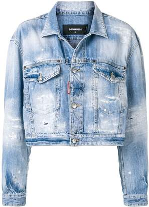 DSQUARED2 cropped distressed denim jacket