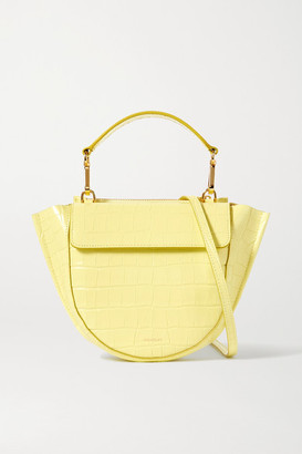 Wandler Hortensia Mini Croc-effect Leather Shoulder Bag - Lime green
