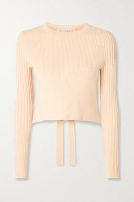 Live The Process Cropped Cutout Ribbed-knit Sweater - Sand