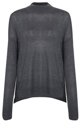 Dorothy Perkins Womens Charcoal Grey High Neck Knitted Jumper, Grey