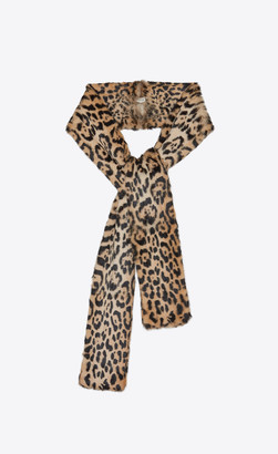 Saint Laurent Large Scarves Scarf In Leopard-print Fur Light Brown Onesize