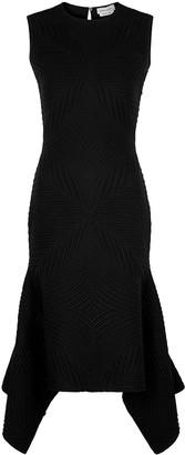 Alexander McQueen Black jacquard wool-blend midi dress