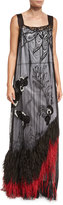 Marc Jacobs Feather-Hem Sleeveless Lace Gown, Black