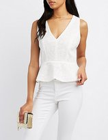 Charlotte Russe Lace Cross-Back Peplum Top