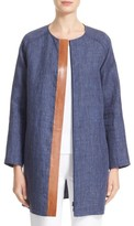 Lafayette 148 New York Women's Berkeley Leather Trim Linen Topper