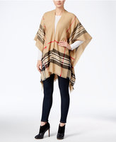 Charter Club Lightweight Border Plaid Poncho, Only at Macy's