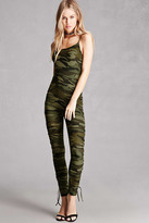 Forever 21 FOREVER 21+ Camo Print Lace-Up Jumpsuit