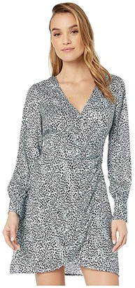 Cupcakes And Cashmere Virgo 'Leopard Spots' Soft Satin Wrap Dress (Blue Fog) Women's Dress
