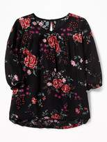 Old Navy Floral-Print V-Neck Swing Blouse for Girls