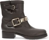 Valentino Studded shearling-lined leather ankle boots