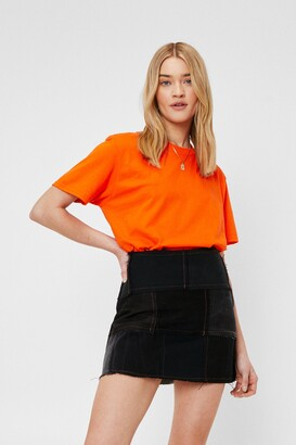 Nasty Gal Face the Facts Relaxed Tee - Orange - S
