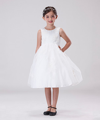 Off-White Chic Baby Girls' Special Occasion Dresses offwhite Imitation Pearl-Accent Embroidered A-Line Dress - Toddler & Girls