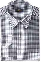 Club Room Men's Estate Big and Tall Fit Wrinkle Resistant Charcoal Gingham Dress Shirt, Created for Macy's