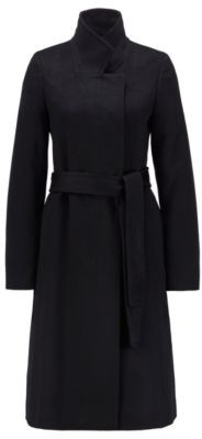 HUGO BOSS Belted Coat In Italian Virgin Wool With Zibeline Finish - Black
