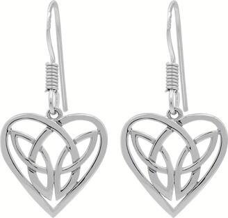 Celtic Solid .925 Sterling Silver Heart Shape Knot Plain Silver Dangle Earrings for Women