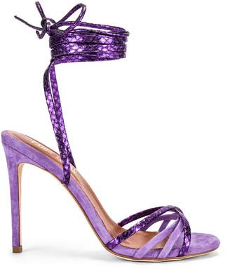 Paris Texas Suede and Metallic Wrap Stilettos in Lilac & Violet   FWRD