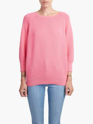 French Connection Cotton Crew Neck Textured Jumper, Keywest Coral