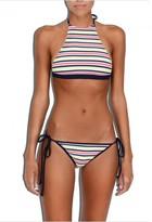 Milly Cabana Marina Crochet Stripe High-Neck Halter Bikini Top