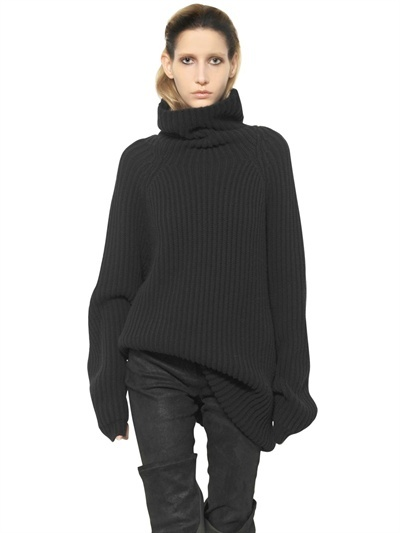 Haider Ackermann Ribbed Knit Turtle Neck Wool Sweater