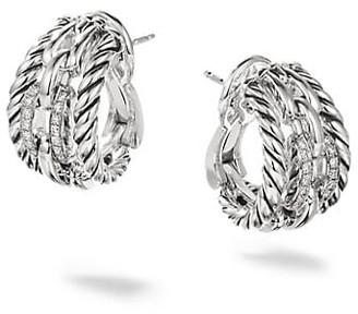 David Yurman Wellesley Link Sterling Silver & Pave Diamond Hoop Earrings