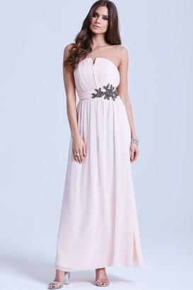 Little Mistress Nude Floral Embellished Bandeau Maxi Dress