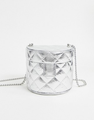 ASOS DESIGN silver quilted vanity box cross body bag