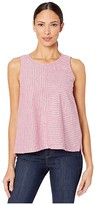 Vince Camuto Sleeveless Ticking Stripe Split Back Lace-Up Tank (Dusty Rose) Women's Clothing
