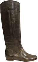 Flat Knee-high Leather Boots In Dark Brown