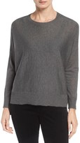 Eileen Fisher Ballet Neck Boxy High/Low Pullover (Regular & Petite)