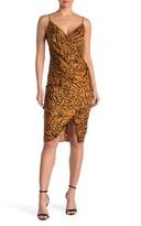 BCBGeneration Animal Print Side Pleated Satin Woven Midi Dress