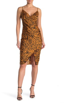 BCBGeneration Animal Print Side Pleated Satin Woven Midi Dress