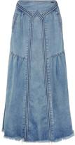 Chloé Frayed Denim Maxi Skirt - Light denim