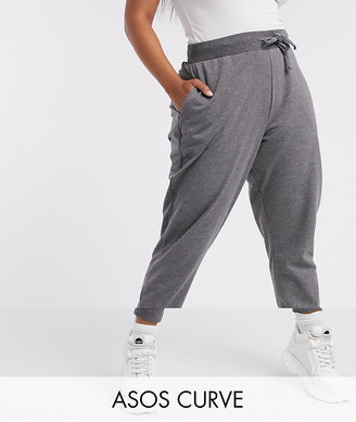 ASOS DESIGN Curve basic jogger with tie in charcoal marl