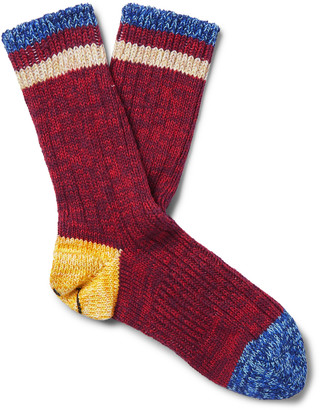 KAPITAL Smiley Cotton and Hemp-Blend Socks - Men - Red