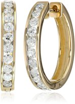 Amazon Collection 14k Gold Channel-Set Diamond Hoop Earrings (1 cttw, H-I Color, I1-I2 Clarity)