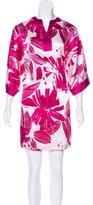 Oscar de la Renta Abstract Print V-Neck Nightgown