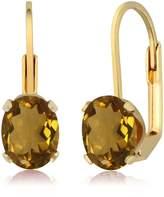 Gem Stone King 2.30 Ct Oval Shape Quartz Yellow Gold Plated Brass Earrings