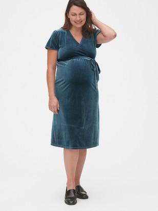 Gap Maternity Velvet Faux-Wrap Dress