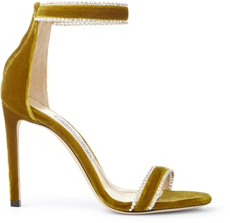 Jimmy Choo DOCHAS 100 Citrus Velvet Open Toe Sandals with Jewel Trim