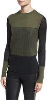 Rag & Bone Marissa Colorblock Crewneck Wool Top, Army