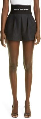 Alexander Wang Logo Waist Pleated Safari Shorts