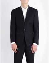 The Kooples Leather-trimmed Slim-fit Wool Jacket
