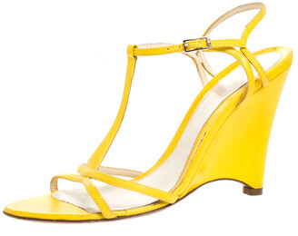 Fendi Yellow Leather Wedge Ankle Strap Sandals Size 38